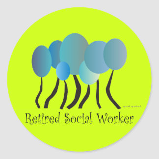 Retired Social Worker Gifts Artsy Trees Design Classic Round Sticker