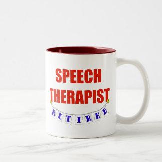 RETIRED SPEECH THERAPIST Two-Tone COFFEE MUG