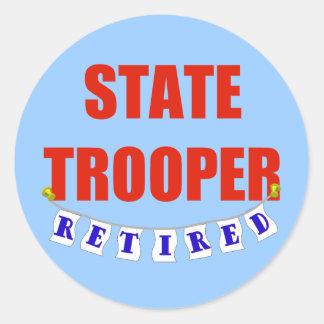 RETIRED STATE TROOPER CLASSIC ROUND STICKER