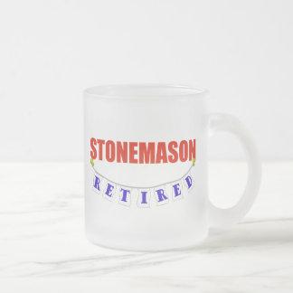RETIRED STONEMASON FROSTED GLASS COFFEE MUG