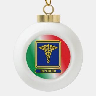 Retired Surgeon Caduceus Shield Ceramic Ball Christmas Ornament