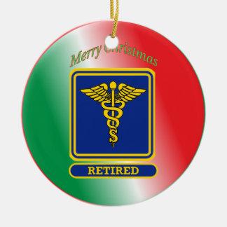 Retired Surgeon Caduceus Shield Ceramic Ornament