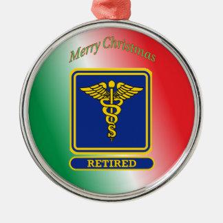 Retired Surgeon Caduceus Shield Metal Ornament