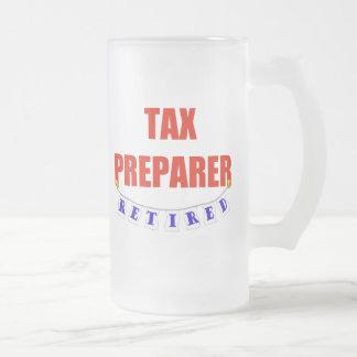 RETIRED TAX PREPARER FROSTED GLASS BEER MUG