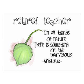 Retired Teacher Aristotle Quote Design Gifts Postcard