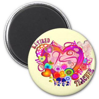 Retired Teacher Artsy Retro Heart 2 Inch Round Magnet