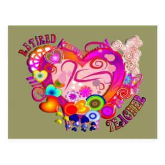 Retired Teacher Artsy Retro Heart Postcard
