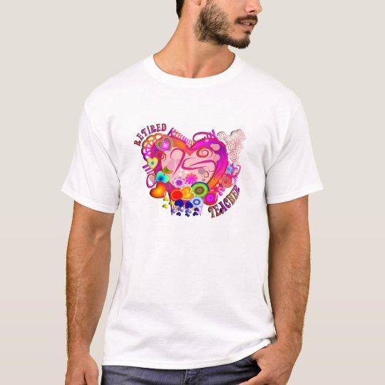 Retired Teacher Artsy Retro Heart T-Shirt