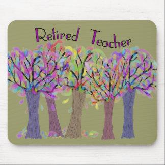 Retired Teacher Artsy Trees Design Mouse Pad