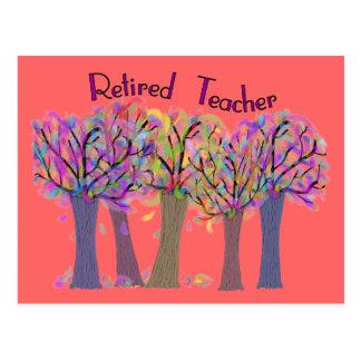 Retired Teacher Artsy Trees Design Postcard