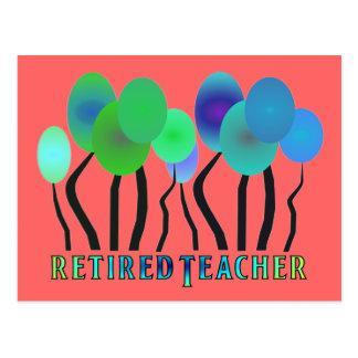 Retired Teacher Artsy Trees Gifts Postcard