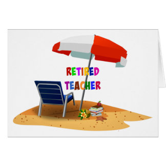 Retired Teacher, Beach Scene (revised) Card