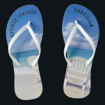 "Retired Teacher Beach With Chairs In Sand Flip Flops<br><div class=""desc"">The perfect gift for retiring teacher!  Just in time to wear flip flops to the beach everyday.  There's a calm beach scene with the ocean and two chairs in the sand. They have ""Retired teacher"" on them.  On the right flip flop personalize with your name.</div>"