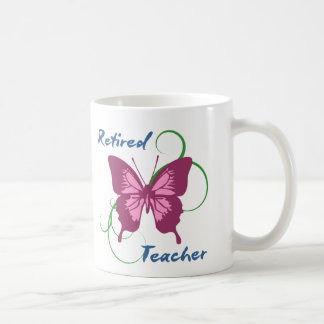Retired teacher (Butterfly) Classic White Coffee Mug