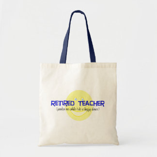 """Retired Teacher """"Doing The Happy Dance"""" Tote Bags"""
