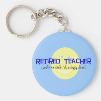 "Retired Teacher ""Doing The Happy Dance"" Keychain"