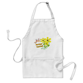 Retired Teacher Dragonfly Daisies Design Adult Apron