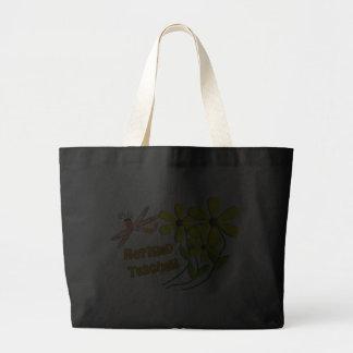 Retired Teacher Dragonfly Daisies Design Canvas Bag