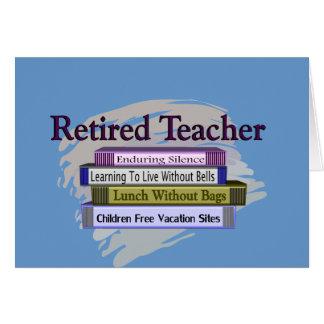 """Retired Teacher """"Funny Stack of Books"""" Design Card"""
