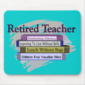 """Retired Teacher """"Funny Stack of Books"""" Design Mouse Pad"""