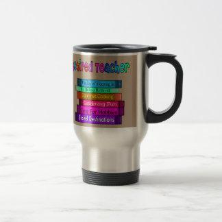 Retired Teacher Gifts Stack of Books Design 8 Travel Mug
