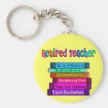 Retired Teacher Gifts Stack of Books Design Basic Round Button Keychain