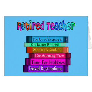 Retired Teacher Gifts Stack of Books Design Card