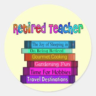 Retired Teacher Gifts Stack of Books Design Classic Round Sticker