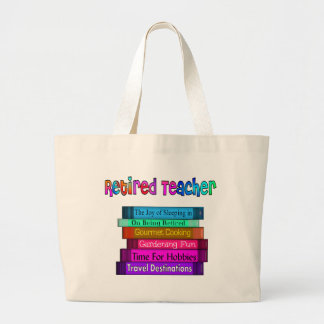 Retired Teacher Gifts Stack of Books Design Large Tote Bag