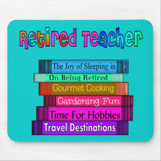 Retired Teacher Gifts Stack of Books Design Mouse Pad