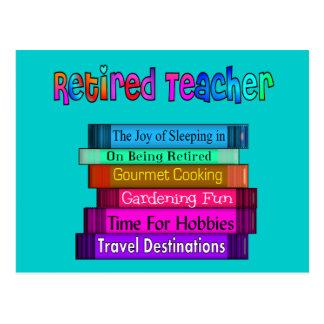 Retired Teacher Gifts Stack of Books Design Postcard