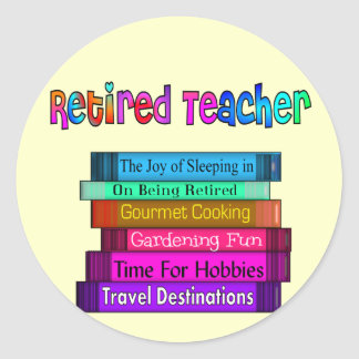 Retired Teacher Gifts Stack of Books Design Classic Round Sticker