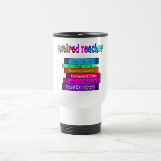 Retired Teacher Gifts Stack of Books Design Travel Mug