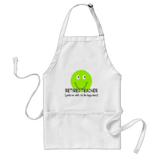 "Retired Teacher Green Smiley ""Happy Dance"" Gifts Adult Apron"