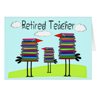 "Retired Teacher Note Cards ""Book Bird Family"""