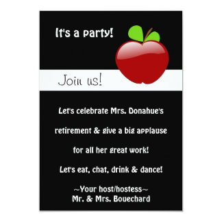 "Retired Teacher Party Invitation 5"" X 7"" Invitation Card"