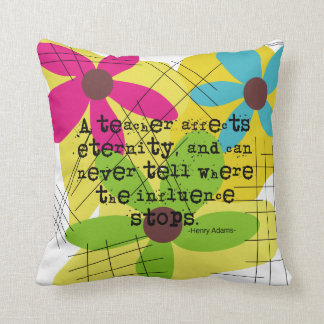 Retired Teacher PIllow Daisies and Quote