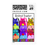 Retired Teacher Postage Stamps Cats and Cupcakes