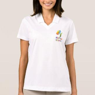 Retired Teacher, Rainbow Daisy Design Polo Shirt