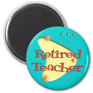 Retired Teacher Retro Atomic Gifts 2 Inch Round Magnet