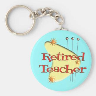 Retired Teacher Retro Atomic Gifts Keychain