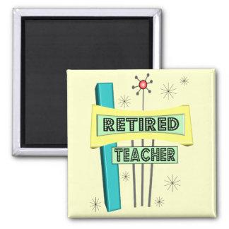Retired Teacher RETRO Design 2 Inch Square Magnet
