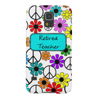 Retired Teacher Retro Flowers and Peace Signs Galaxy S5 Case