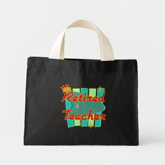 Retired Teacher RETRO SIGN Design Gifts Mini Tote Bag