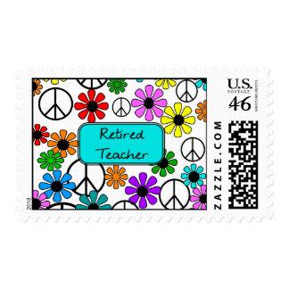 Retired Teacher Retro Style Postage Stamps