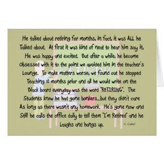 """Retired Teacher story art """"Obsessed With Retiring"""" Card"""
