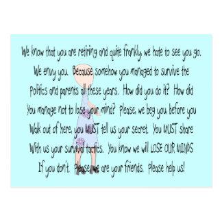 "Retired Teacher Story Art~~ ""Please Help Us"" Postcard"
