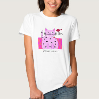 Retired Teacher T-Shirt Whimsical Pink Cat Bird