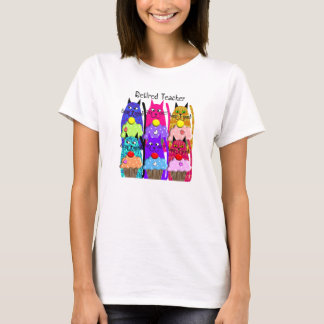 Retired Teacher T-Shirts Whimsical Cats