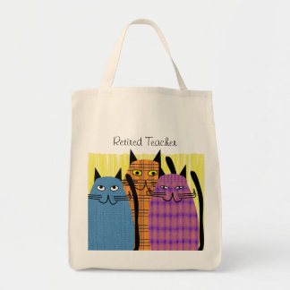 Retired Teacher Tote Bag  Folk Cats